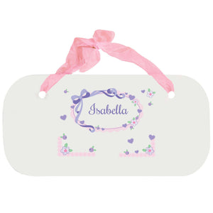 Personalized Girls Wall Plaque with Lacey Bow design