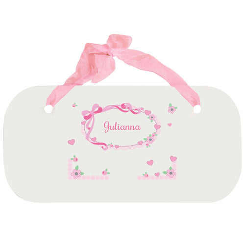 Personalized Girls Wall Plaque with Pink Bow design