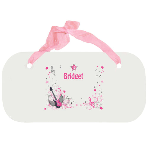 Personalized Girls Wall Plaque with Pink Rock Star design