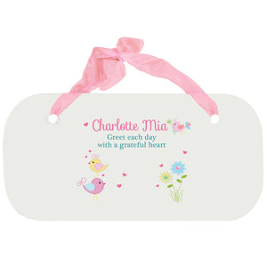 Personalized Girls Wall Plaque - Love Birds