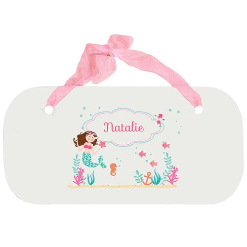 Personalized Girls Wall Plaque with Brunette Mermaid Princess design
