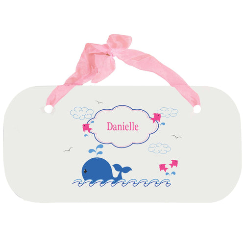 Personalized Girls Wall Plaque with Pink Whale design