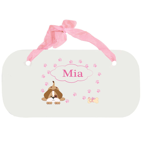 Personalized Girls Wall Plaque with Pink Puppy design