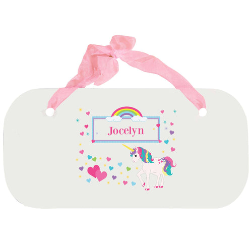 Personalized Girls Wall Plaque with Unicorn design