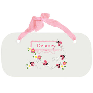 Personalized Girls Wall Plaque with Pink Ladybugs design