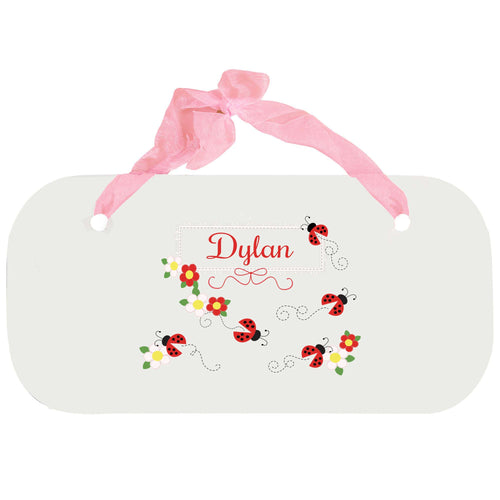 Personalized Girls Wall Plaque with Red Ladybugs design