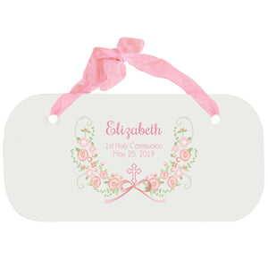 Personalized Girls Wall Plaque - Hc Blush Floral Garland