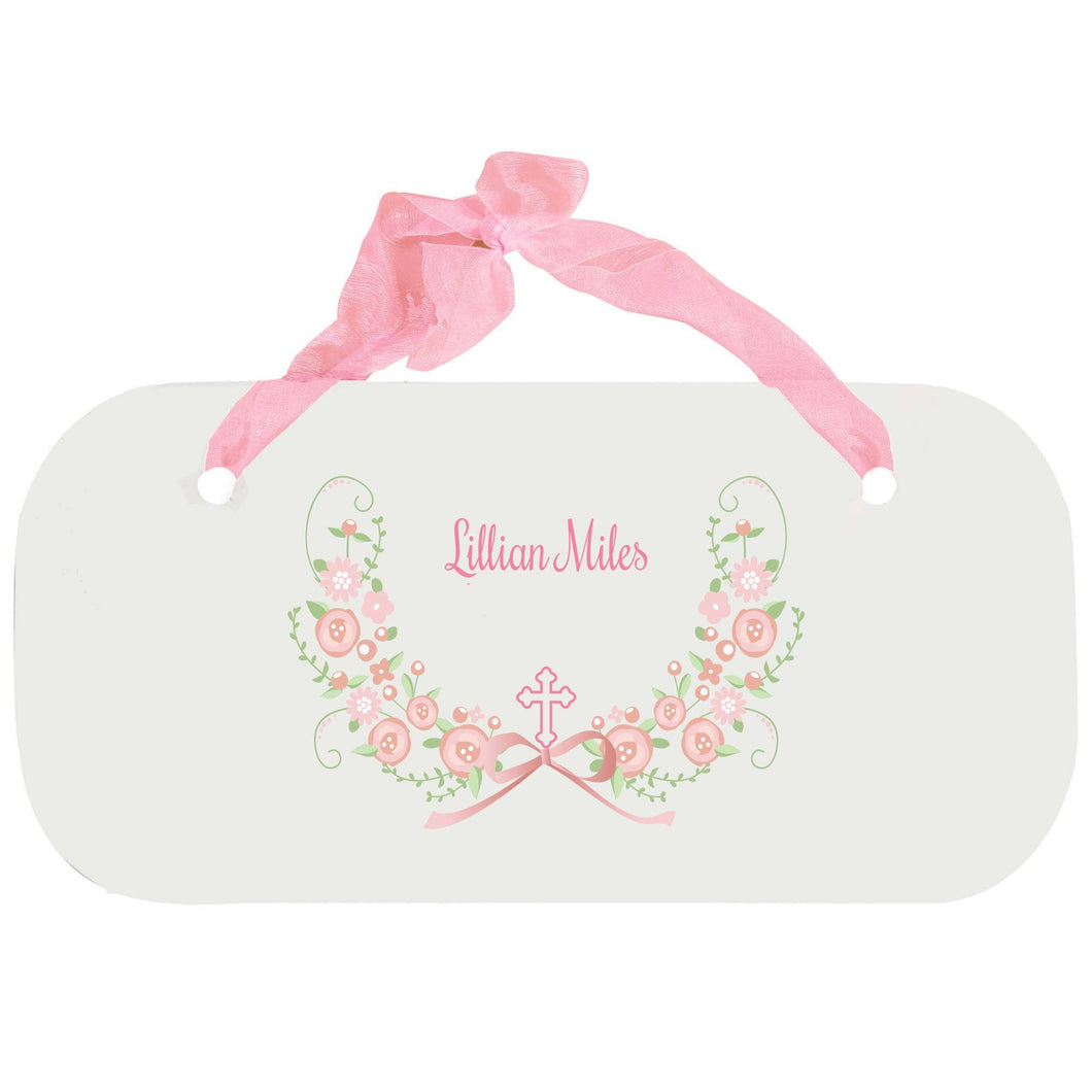 Personalized Girls Wall Plaque with Hc Blush Floral Garland design