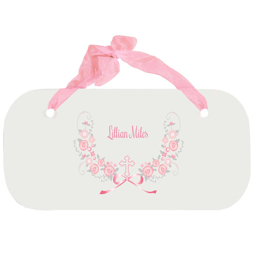 Personalized Girls Wall Plaque with Hc Pink Gray Floral Garland design