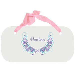 Personalized Girls Wall Plaque with Lavender Floral Garland design