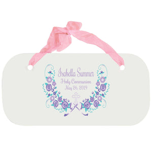 Personalized Girls Wall Plaque - Hc Lavender Floral Garland