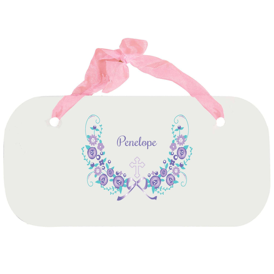 Personalized Girls Wall Plaque with Hc Lavender Floral Garland design