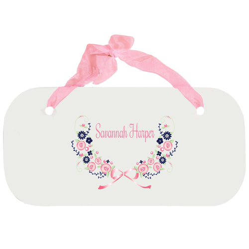 Personalized Girls Wall Plaque with Navy Pink Floral Garland design