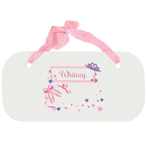 Personalized Girls Wall Plaque with Ballet Princess design