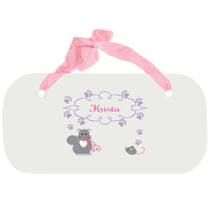 Personalized Girls Wall Plaque with Kitty Cat design