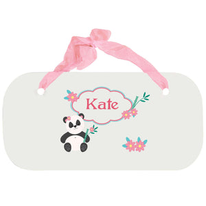 Personalized Girls Wall Plaque with Panda Bear design