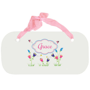 Personalized Girls Wall Plaque with English Garden design