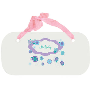 Personalized Girls Wall Plaque with Florascope design