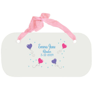 Personalized Girls Wall Plaque - Heart Balloons
