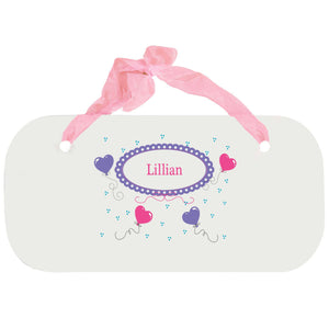 Personalized Girls Wall Plaque with Heart Balloons design