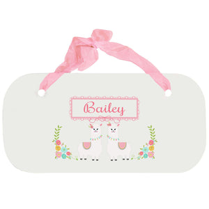 Personalized Girls Wall Plaque with Alpaca Llama design
