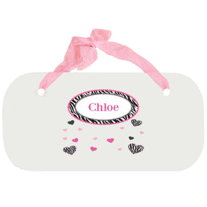 Personalized Girls Wall Plaque with Groovy Zebra design