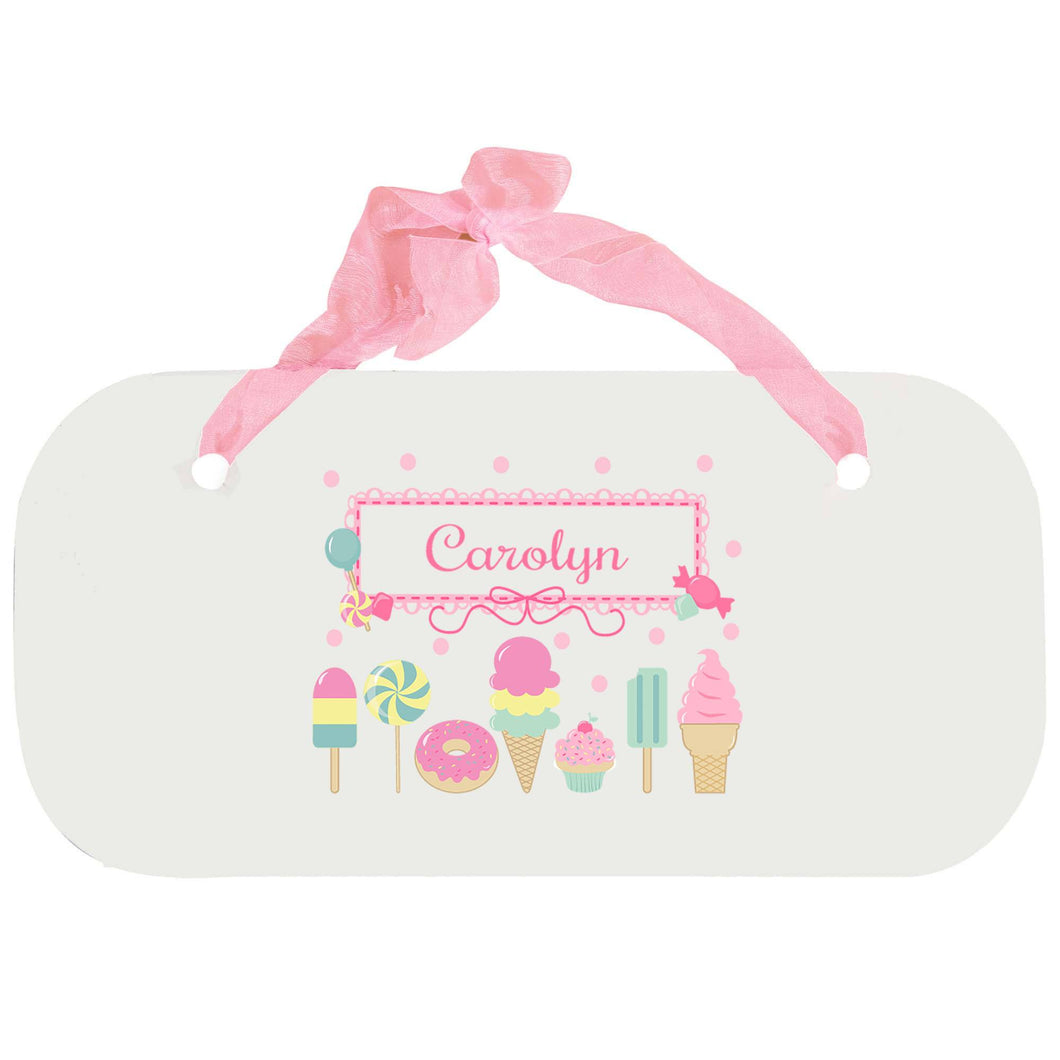 Personalized Girls Wall Plaque with Sweet Treats design