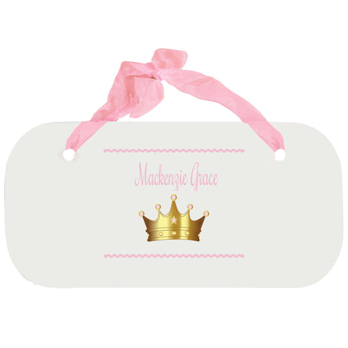 Personalized Girls Wall Plaque with Pink Princess Crown design