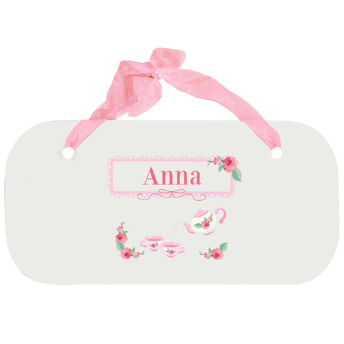 Personalized Girls Wall Plaque with Tea Party design