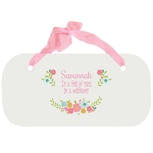 Personalized Girls Wall Plaque - Spring Floral