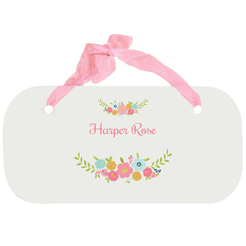 Personalized Girls Wall Plaque with Spring Floral design