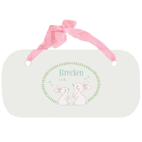 Personalized Girls Wall Plaque with Classic Bunny design