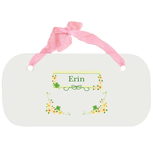 Personalized Girls Wall Plaque with Shamrock design