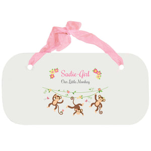 Personalized Girls Wall Plaque - Monkey Girl