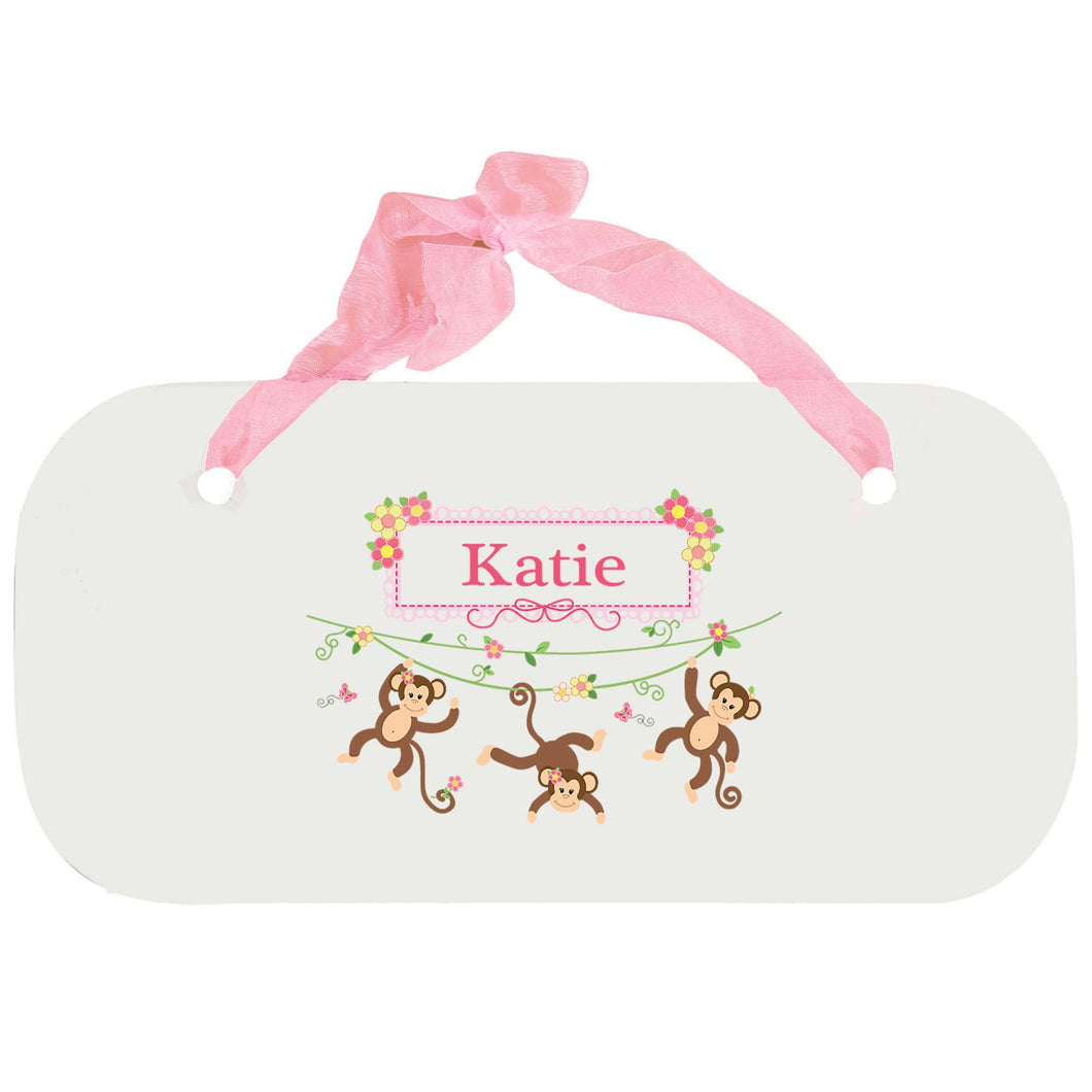 Personalized Girls Wall Plaque with Monkey Girl design