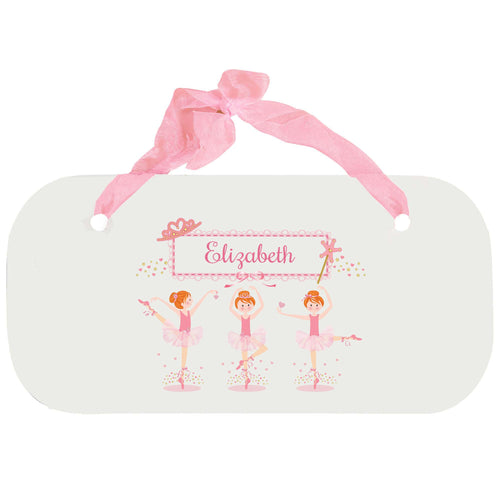 Personalized Girls Wall Plaque with Ballerina Red Hair design