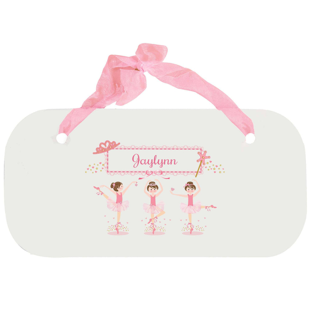 Personalized Girls Wall Plaque with Ballerina Brunette design