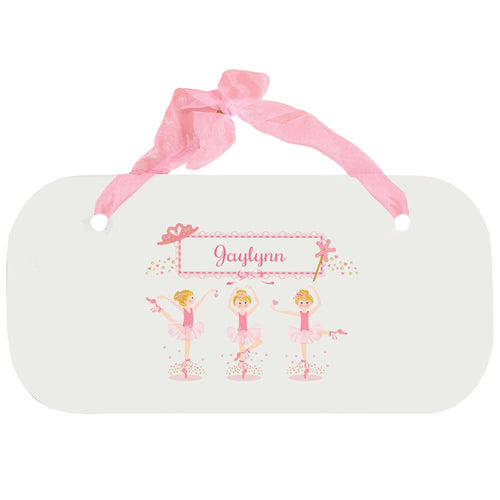 Personalized Girls Wall Plaque with Ballerina Blonde design