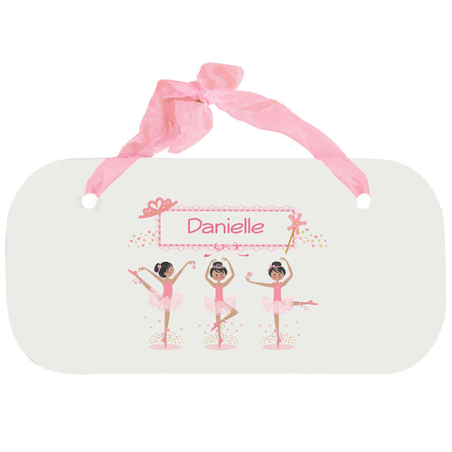 Personalized Girls Wall Plaque with Ballerina Black Hair design