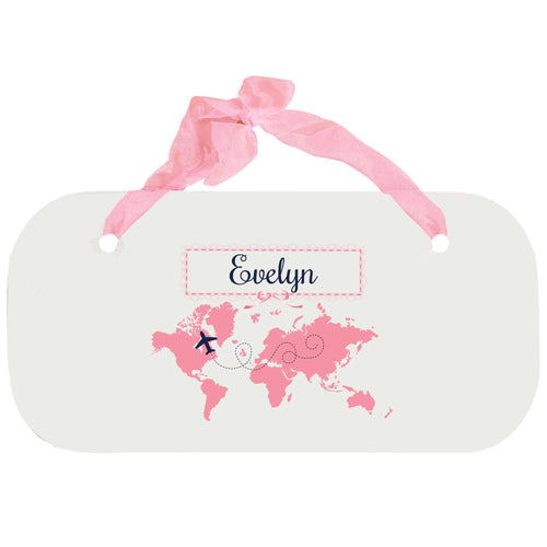 Personalized Girls Wall Plaque with World Map Pink design