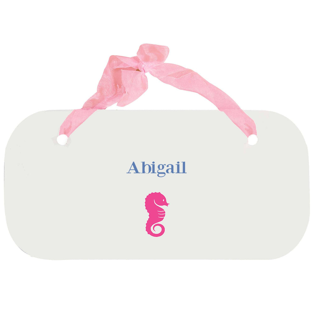 Personalized Girls Wall Plaque with Single Seahorse design