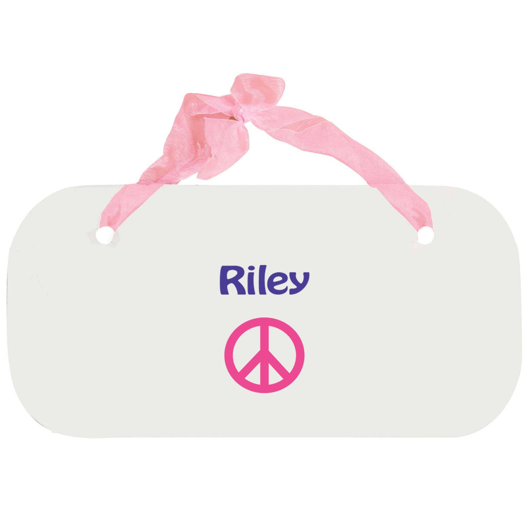 Personalized Girls Wall Plaque with Single Peace design