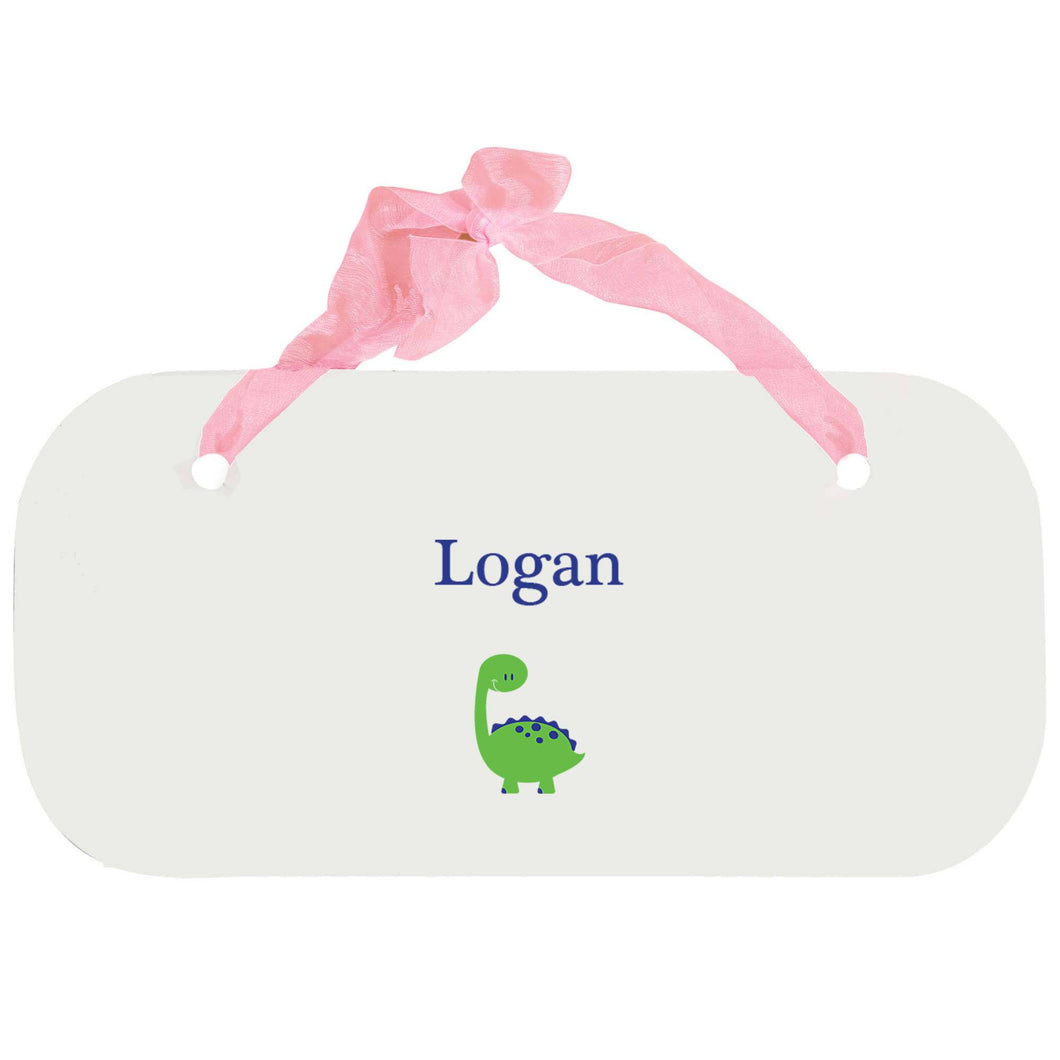 Personalized Girls Wall Plaque with Single Dinosaur design