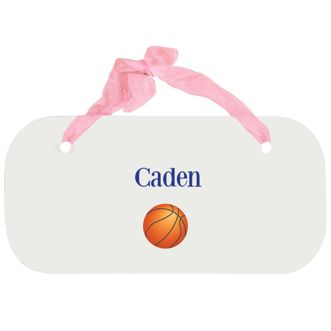 Personalized Girls Wall Plaque with Single Basketball design