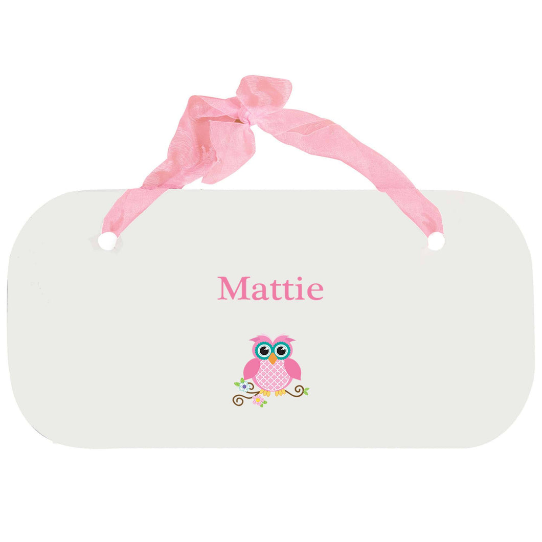 Personalized Girls Wall Plaque with Single Owl design