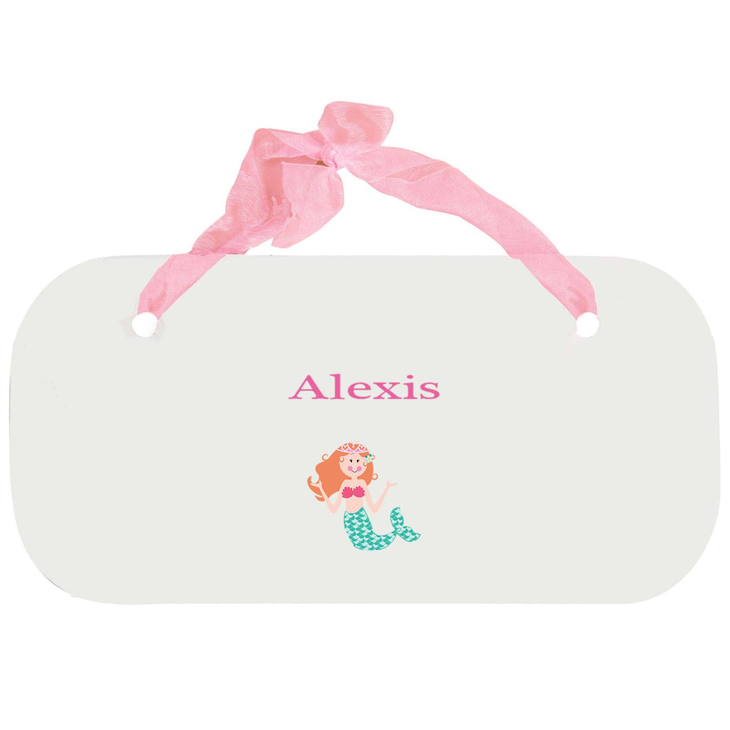 Personalized Girls Wall Plaque with Single Mermaid design