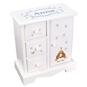 Personalized Jewelry Armoire with Blue Puppy design