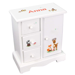 Personalized Jewelry Armoire with Green Forest Animal design