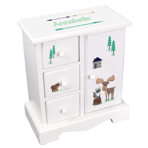 Personalized Jewelry Armoire with North Woodland Critters design