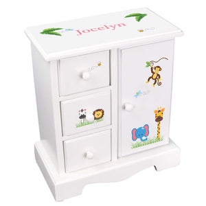 Personalized Jewelry Armoire with Jungle Animals Boy design